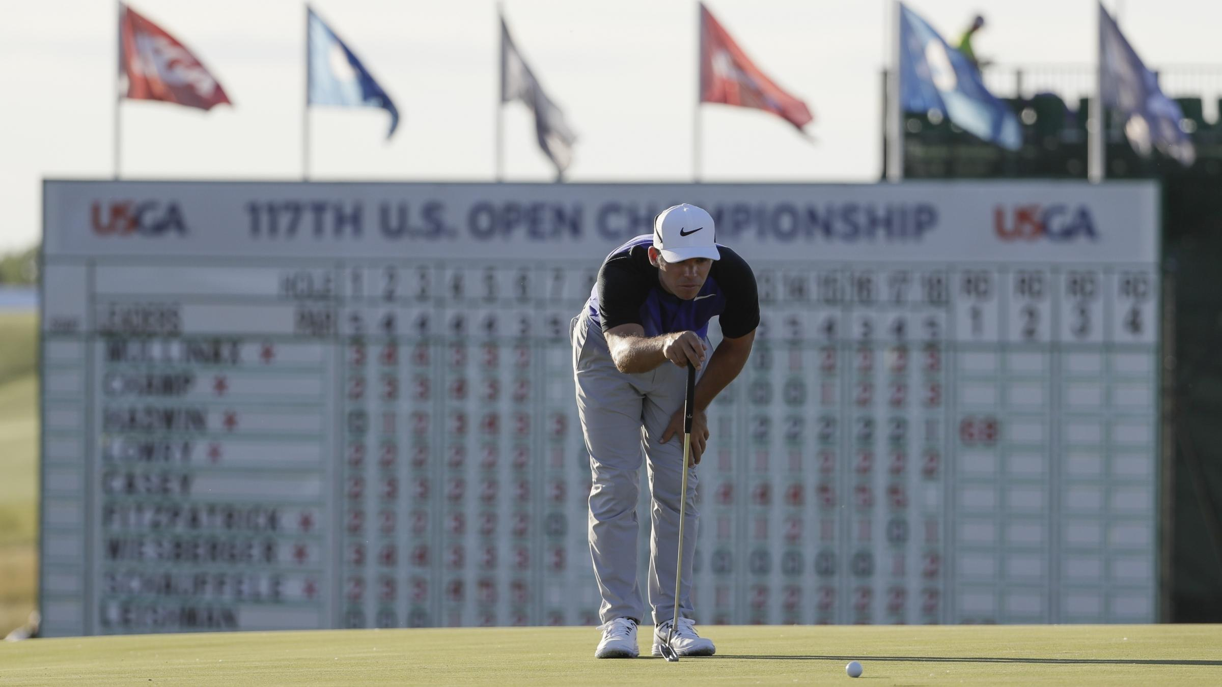Justin Thomas shoots 63, trails Brian Harman by 1 at US Open